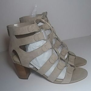 NIB MARC FISHER NATURAL SUEDE SANDALS SIZE 7M